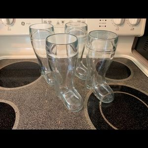 .5 liter glass beer boots - set of 4